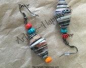 Silver French Hook Paper Bead Earrings