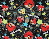 Angry Birds Stars Black Cotton Fabric - Half Yard