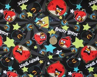 Angry Birds Stars Black Cotton Fabric - Half Yard