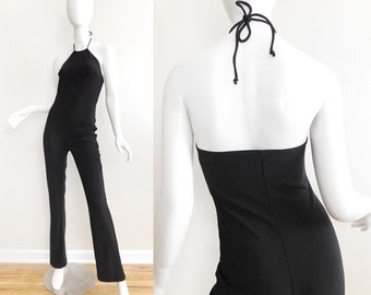 Sz S 90s Black Halter Jumpsuit - Vintage Stretch Knit Halter Neck Women's Bodysuit Slinky Goth Club Kid Wear Unitard