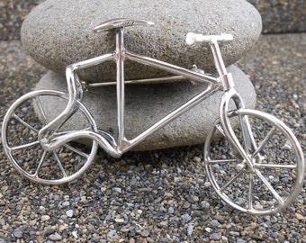 Sterling Bicycle Pin Movable  Vintage Taxco Mexico Brooch Large 3.25 inches (82.5mm) in Length