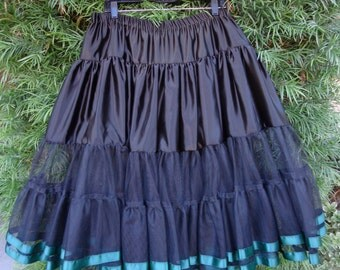 Petticoat or Crinoline in Black Netting & Green Ribbon Late 1950s Style PLUS SIZE