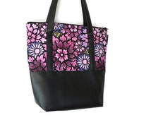 Vegan Leather Shoulder Tote Bag - Leather Tote Bag Tablet Pocket - Shoulder Bag Tablet Pocket - Purple Passion Fabric Tote