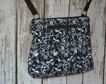 iPad Purse Kindle Handbag - Shoulder Bag Purse - Fast Shipping - Padded Electronics Tablet Pocket MEDIUM HOBO BAG Nightingale Fabric