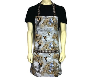 Kitchen Apron for Men,  Duck Hunting, Bass Fishing and Canadian Geese, Adjustable with Pocket