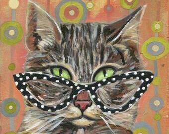 "6x6 inch Archival Print on Wood  ""Cat Eye Cat #1"""