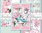Timeless Elegance Backing Background Paprs Set Cottage Shabby Chic Digital Scrapbook Printable INSTANT DOWNLOAD