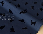 Japanese Fabric flocked cats lawn - navy blue - 50cm