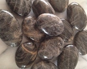 Large Black Moonstone Palm Stones  Intuition, balancing emotions, fertility and automatic writing