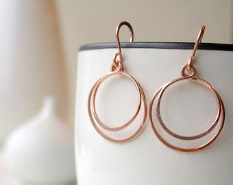 Medium Double Hoops Earrings. Hammered Round Hoops. Rose Gold Hoops. Gold Round Hoops. Silver Hoops.