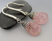 Strawberry Lepidocrocite Oxidized Sterling Silver Earrings