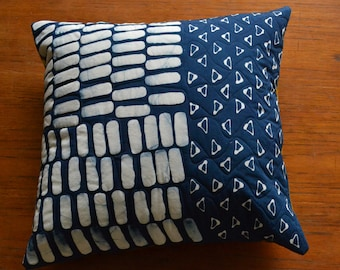 Sampler Hand Dyed and Patterned Indigo Pillow Cover