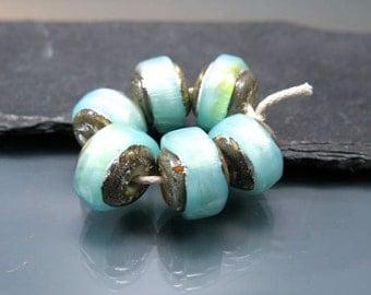 Handmade Lampwork Nugget Beads by GlassBeadArt … Blue Opal Sparkling Rocks ... SRA F12 ... 10x12mm