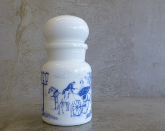 Vintage Milk Glass Apothecary Jar with Bubble Lid Made in Belguium 1970s Blue & White Glass Bottles V1909