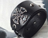 Black Leather Cuff Wristband with Iron Cross and Adjustable Elastic Closure, Eco Friendly, Recycled Belt, Mens, Unisex, Unique, OOAK