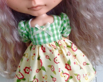 Dress for Blythe - Green Gingham and Yellow Floral