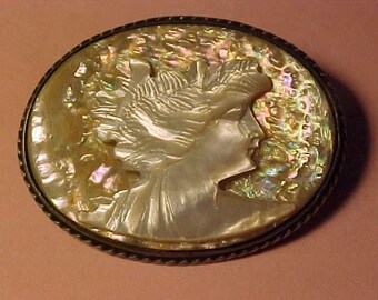 Antique Sterling Silver- Mother of Pearl & Oyster Shell Cameo  Pin Brooch