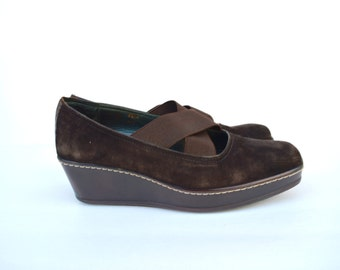 chocolate brown suede criss cross strap platform shoes 8