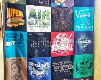Memory keepsake t-shirt quilt, custom design, handmade heirloom throw blanket, eco-friendly, FREE SHIPPING