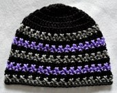"20"" Black Lilac Grey Gray Beanie Hat, Cap, 100% Soft Acrylic, Handmade Cross Stitch Crochet, Girl, Teen, Adult Woman, large"