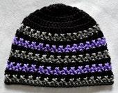 "20"" Black Lilac Grey Gray Beanie Hat, Cap, 100% Soft Acrylic, Handmade Cross Stitch Crochet, Girl, Teen, Adult Woman, large"