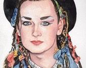 Original Watercolor Painting Portrait Art Boy George Culture Club 7.5 x 10 inches