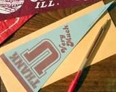 letterpress thank u very much vintage pennant flat card grey & burgandy thank you card or decoration
