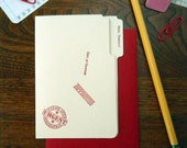 letterpress many thanks mini manila file folder greeting card red ink on manila paper with red envelope