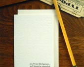 letterpress ligature greeting card typography pun font humor blind emboss cream paper you & i are like ligatures we'll always be connected