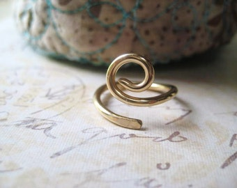 Golden Swirl Ring, Hand Forged Ring, 14k Gold Fill, Hand Formed, Size 3 Ring, Gold Filled Wire, Womens Jewelry, Stacking Ring, candies64