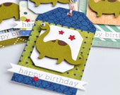 Happy Birthday Dinosaur Tags, Set of 4, 4 Different Tags Included