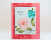 Thoughts of You, Pretty Button Flower Card, Thinking of You Card, All Occasion Card