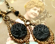 1800s Antique BUTTON earrings, Victorian black glass flowers. Button jewellery.