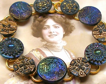 "1800s BUTTON  bracelet, Victorian black glass rainbow luster. 8.75"" bracelet. One of a kind jewellery."