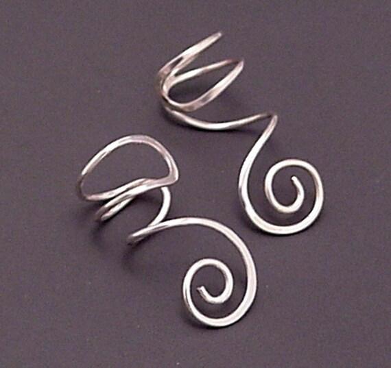 Sterling Spiral EAR CUFF PAIR - Spiral Silver Ear Cuffs
