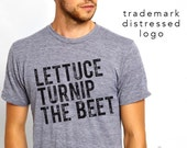 lettuce turnip the beet ® OFFICIAL SITE trademark brand - the classic heather grey track tee or tank with DISTRESSED logo