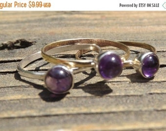 HOT STYLE Beautiful Amethyst stack rings -size 9 - sterling silver -mix and match