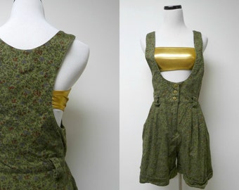 80s green floral romper . fits a small to medium
