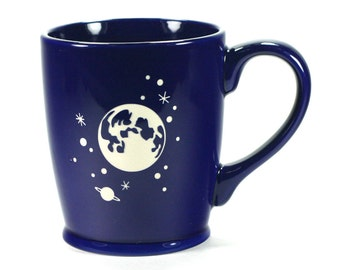 Full Moon and Stars Mug - Navy Blue - microwave/dishwasher safe - coffee cup