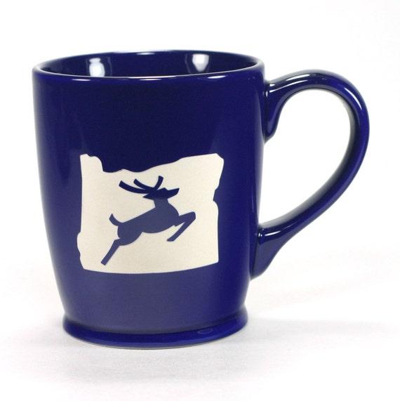 Portland Coffee Mug: Oregon Stag Mug Navy Blue Portland OR Coffee Cup