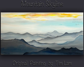 Mountains DAWN, HUGE Original Acrylic painting 48x24x1.4