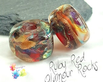 Lampwork Beads Ruby Red Glamour Rocks