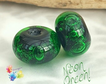 Glass Lampwork Beads Neon Green Bubbles Pair