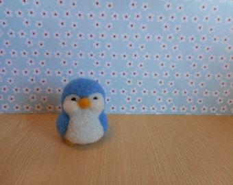 Mini Penguin, Handmade, Needle Felted, Wool, Light Blue, Fiber Art Figure,
