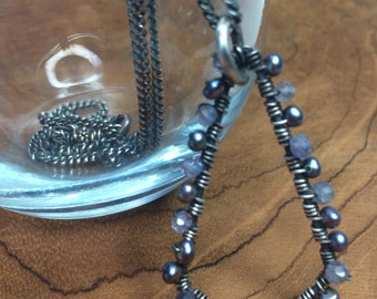Blue Iolite and Pearl Wrapped Pendant Necklace