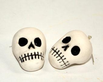 Ultra Light Polymer Clay Skull Earrings