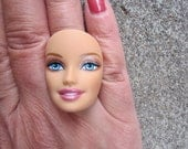 Barbie Doll Face - upcycled adjustable ring - S