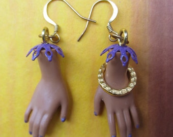 SALE ITEM - African American Barbie hand earrings- purple