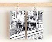 """Powell Street, Paper & Wood Earrings, 1.25x2.25"""""""