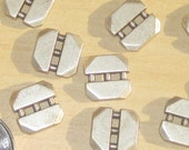 "SQUARE Set 12 Vintage Antiqued SILVER Metal New buttons 1/2"" across"